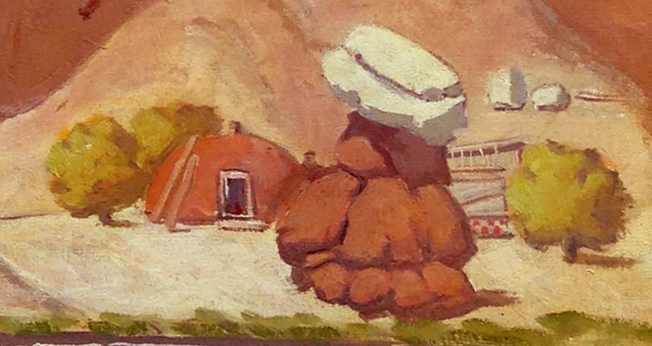 Ralph Holmes Navajo Hogan And Rug Loom Painting For