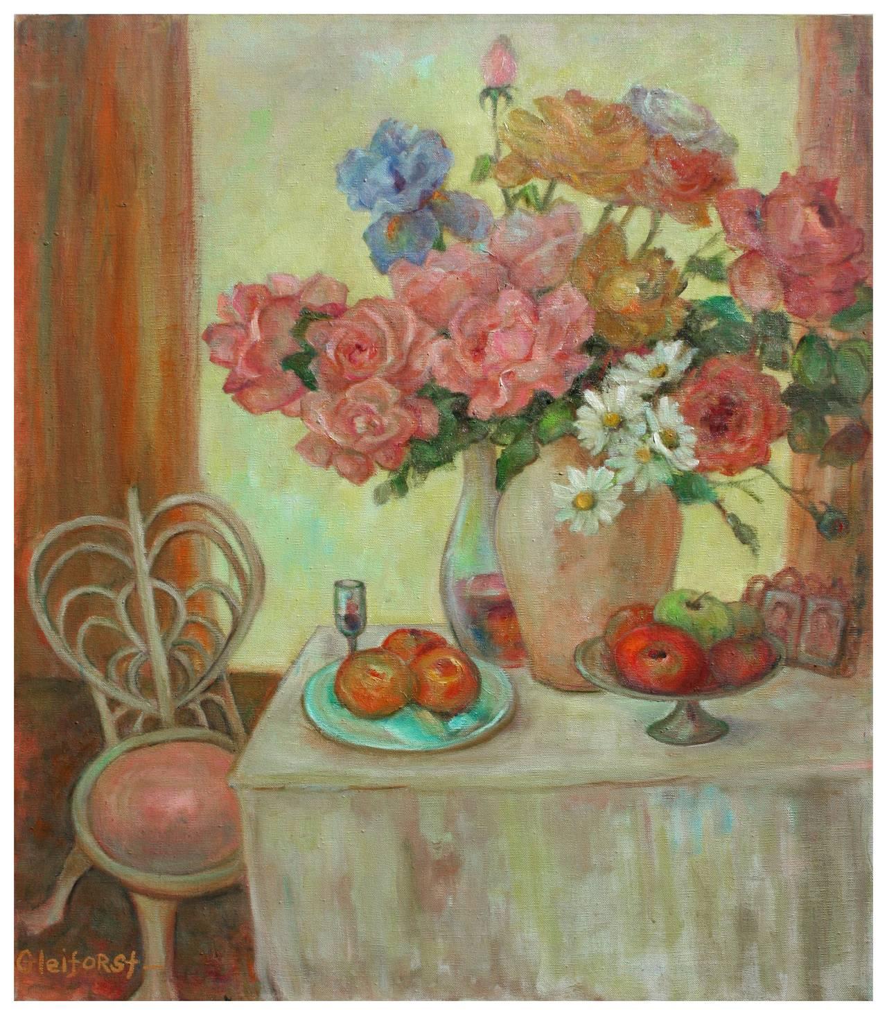 Mid Century Floral Centerpiece Still Life