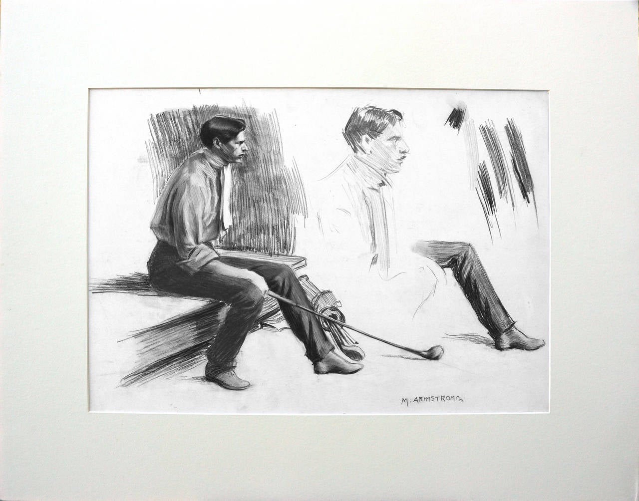 Young Golfer - Gray Portrait by Margaret Neilson