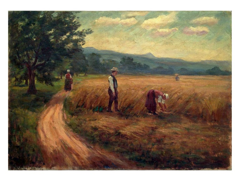 Unknown Figurative Painting - French School 19th Century Autumn Harvest
