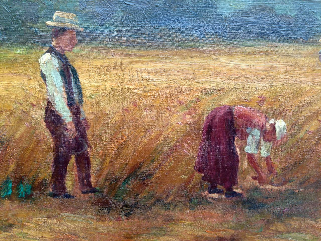 French School 19th Century Autumn Harvest - Black Figurative Painting by Unknown