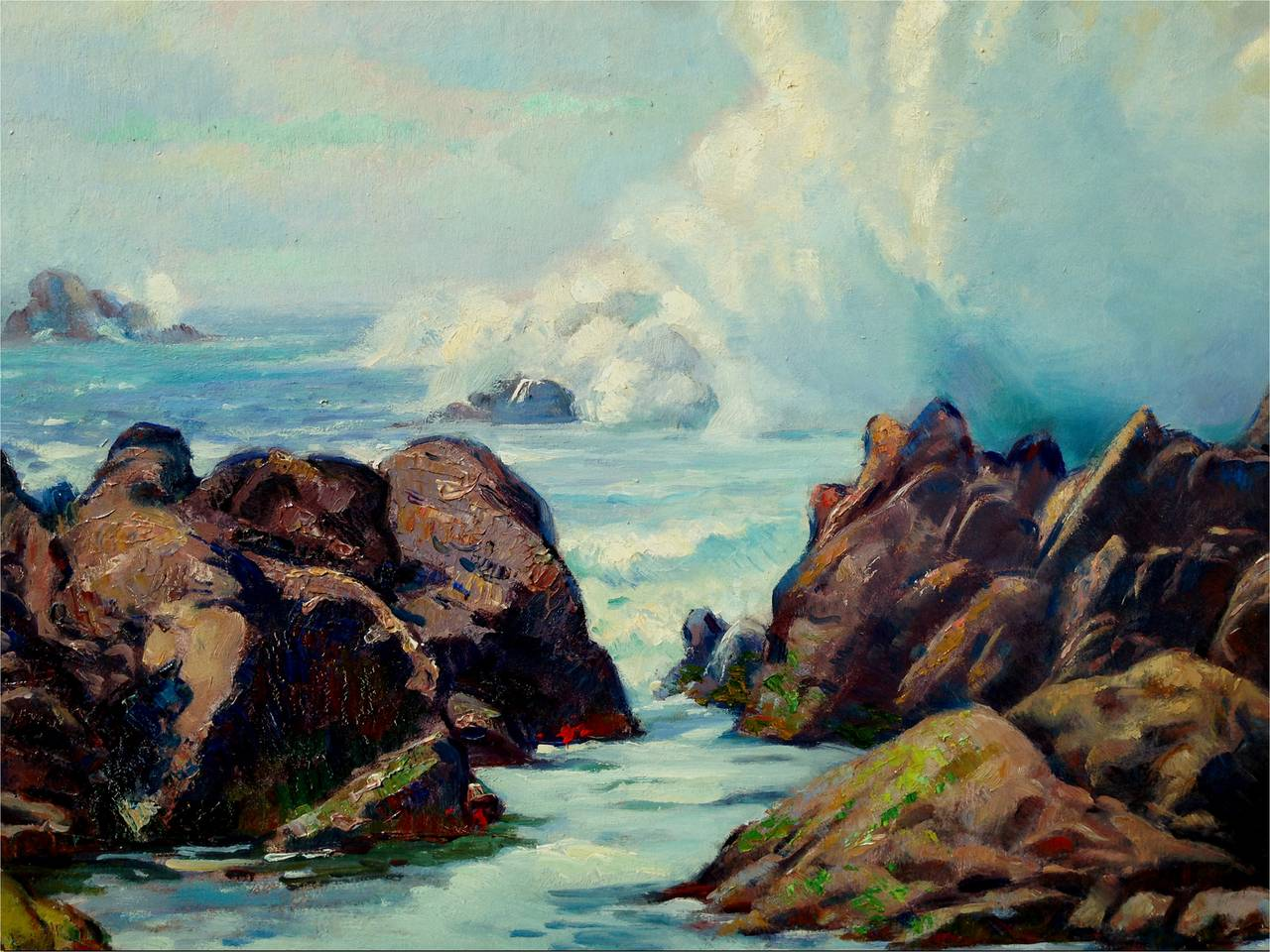 Early 20th Century Pebble Beach Surf Seascape - Painting by Abel Warshawsky