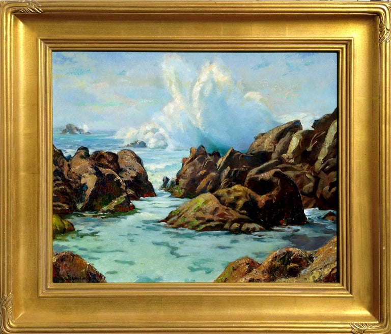 Abel Warshawsky Landscape Painting - Early 20th Century Pebble Beach Surf Seascape