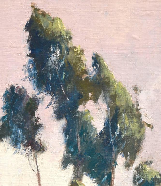Eucalyptus by Road - American Impressionist Painting by Jon Blanchette