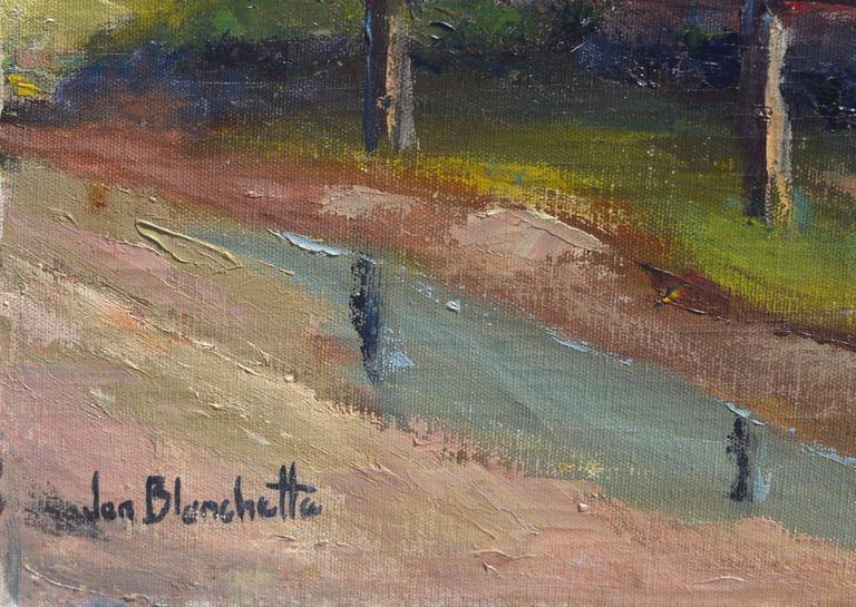 Eucalyptus by Road - Brown Landscape Painting by Jon Blanchette