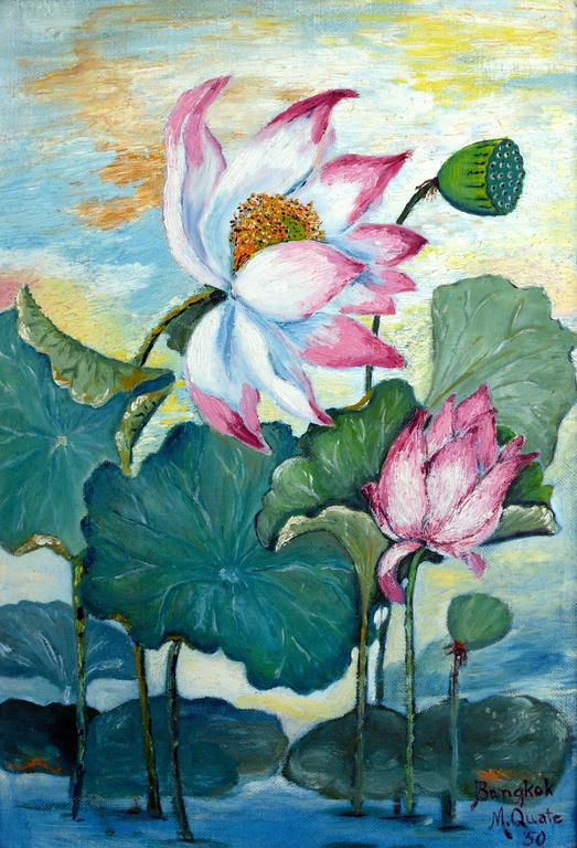 Mid Century Lotus Still Life Floral / Bangkok Landscape on Verso (Double Sided)  - Painting by Marge Quate Burt