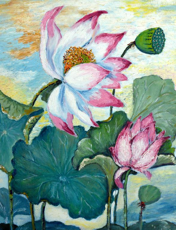 Mid Century Lotus Still Life Floral / Bangkok Landscape on Verso (Double Sided)  - American Impressionist Painting by Marge Quate Burt