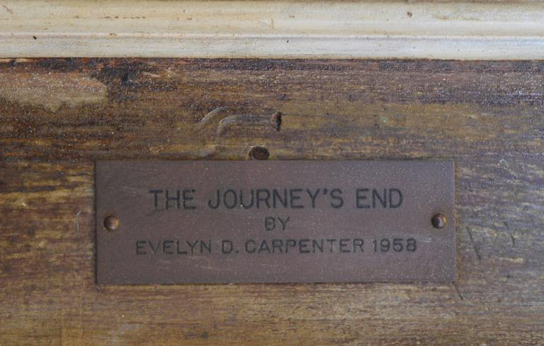 """The Journey's End by Evelyn D. Carpenter (American, 20th Century). Presented in a wood frame. Signed """"Evelyn D. Carpenter"""" and dated """"58""""lower right. Placard with title """"The Journey's End"""", dated """"1958"""" and"""