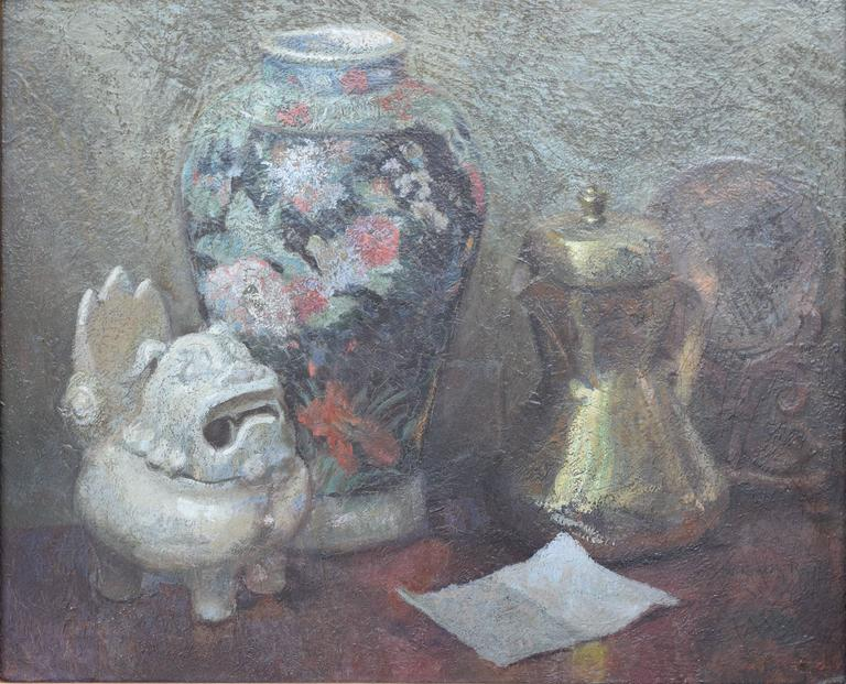 Still Life with Japanese Shisa - Painting by Wilfred A. Readio