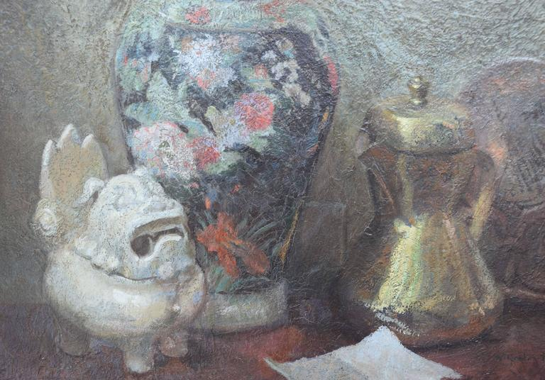 Still Life with Japanese Shisa - American Impressionist Painting by Wilfred A. Readio