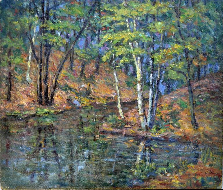 20th c. French Impressionist Landscape - Barbizon School Painting by Unknown