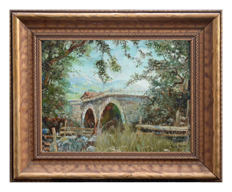 Barbara Bales Hoffman Landscape Painting - Old Napa Bridge Landscape
