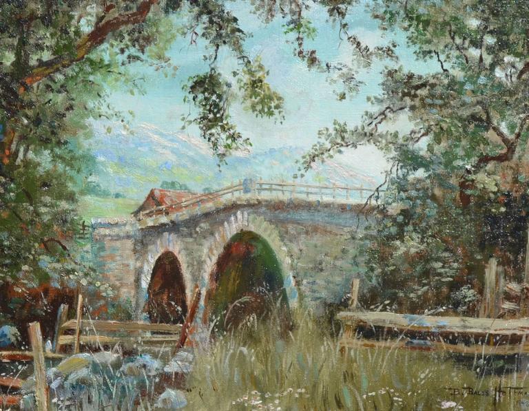 Old Napa Bridge Landscape - Painting by Barbara Bales Hoffman