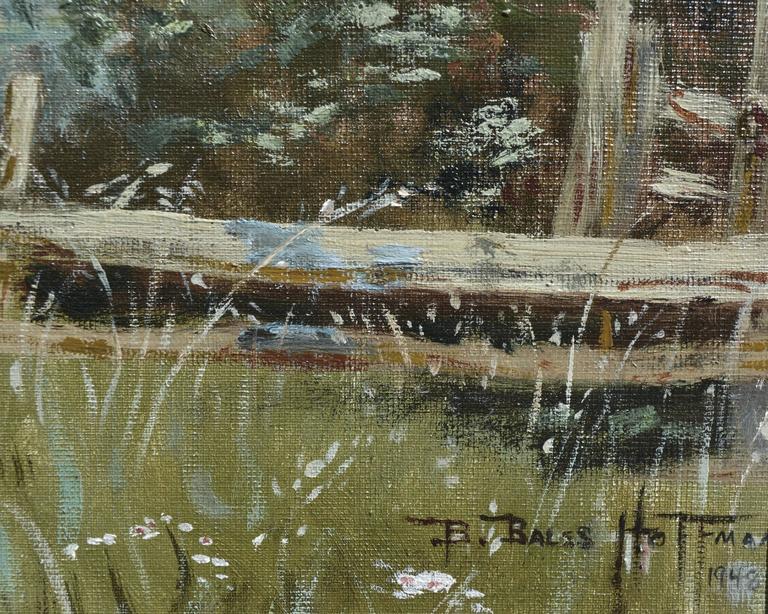 Old Napa Bridge Landscape - American Impressionist Painting by Barbara Bales Hoffman