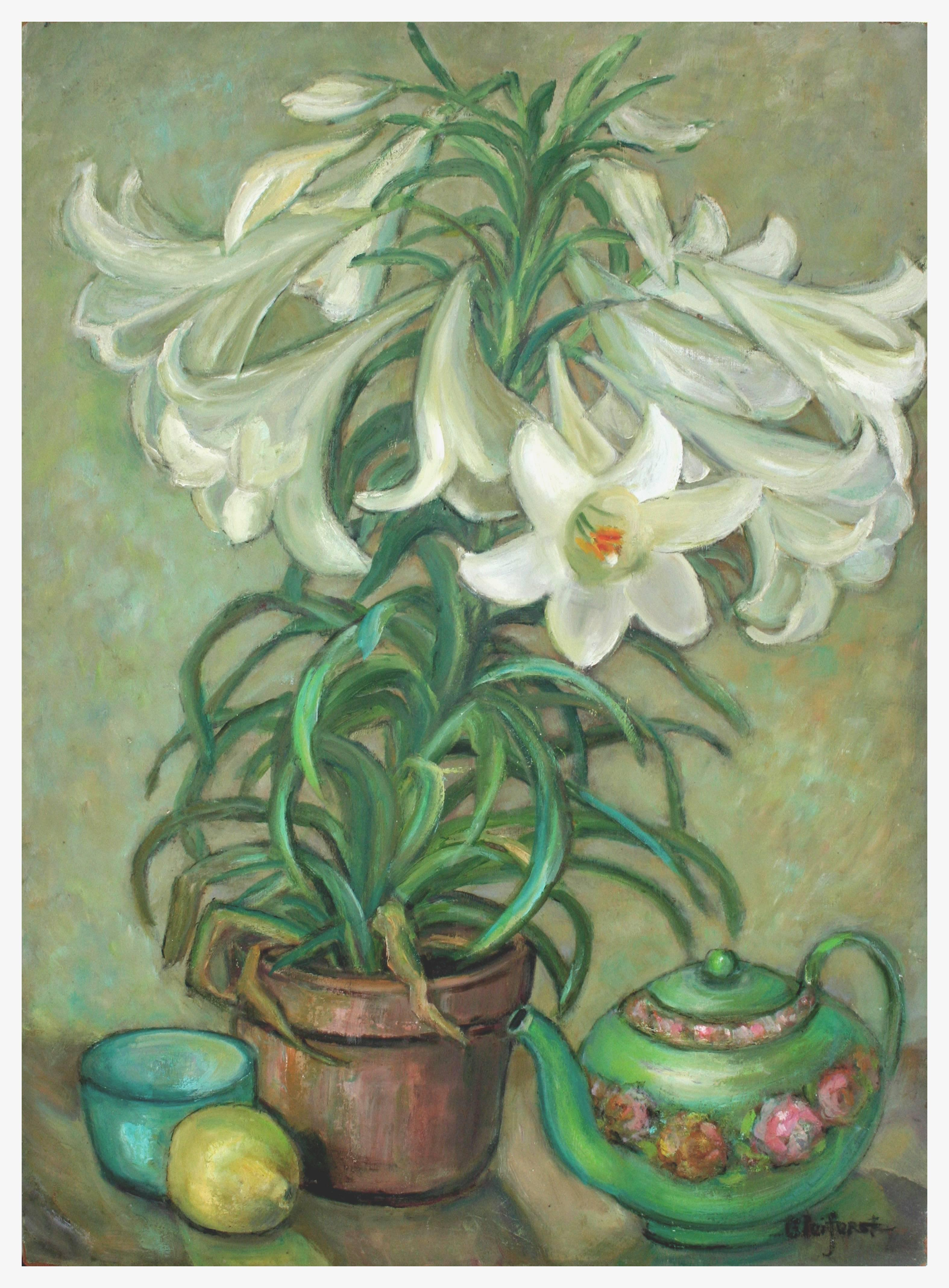 Mid Century Lilies and Teapot Still Life