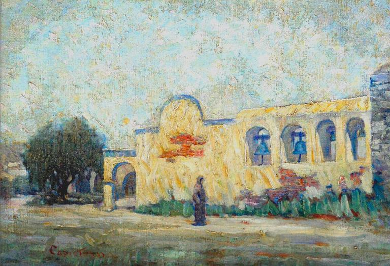 Early 20th Century Mission San Juan Capistrano Landscape - Painting by Warren E. Rollins