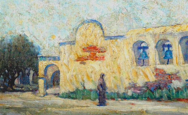 Early 20th Century Mission San Juan Capistrano Landscape - American Impressionist Painting by Warren E. Rollins