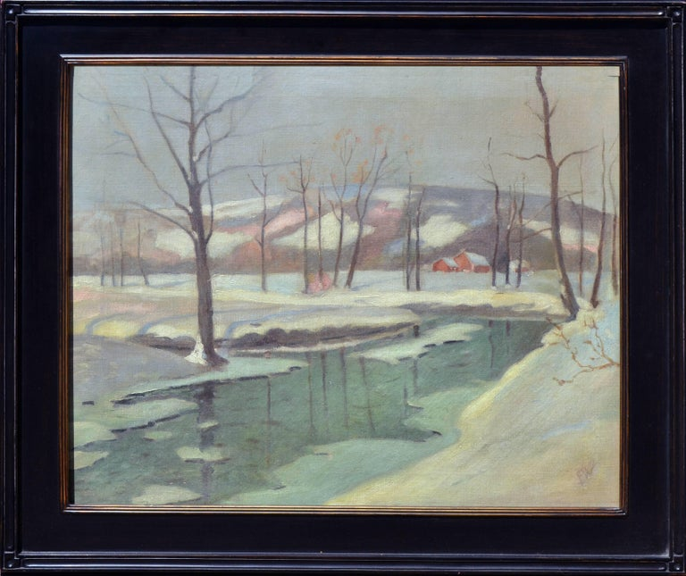 Frederick R. Wagner Landscape Painting - A Winters Night Landscape