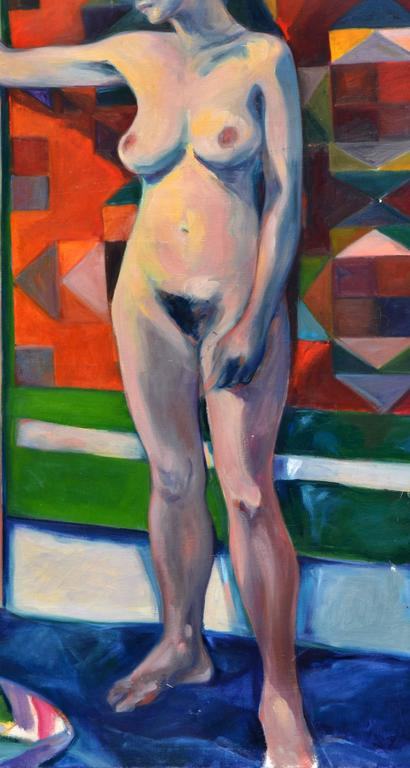 Woman with Tapestry - Nude Figurative  - Painting by Rebecca Hall