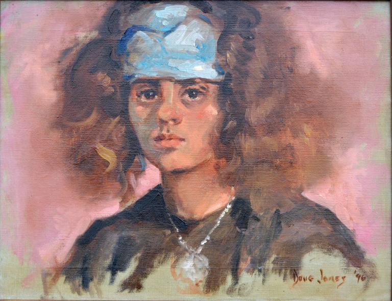 Young Girl with Scarf - Painting by Douglas McKee Jones