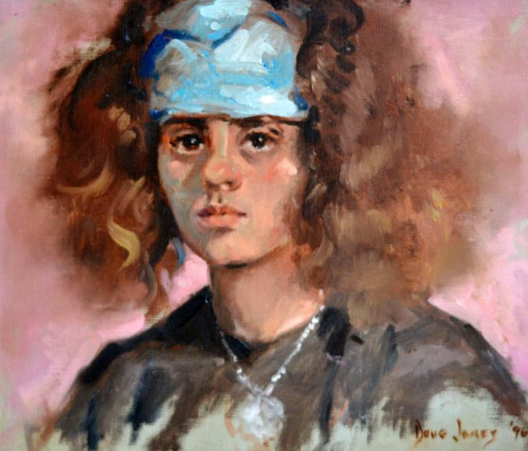 Young Girl with Scarf - American Impressionist Painting by Douglas McKee Jones