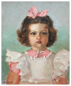 Young Girl With Pink Bow Portrait