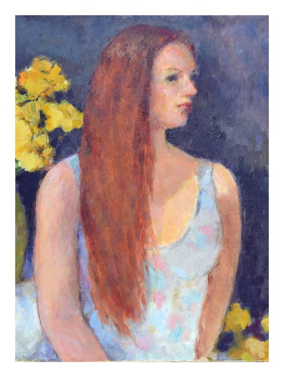 Yellow Roses, Portrait - Painting by Patricia Emrich Gillfillan