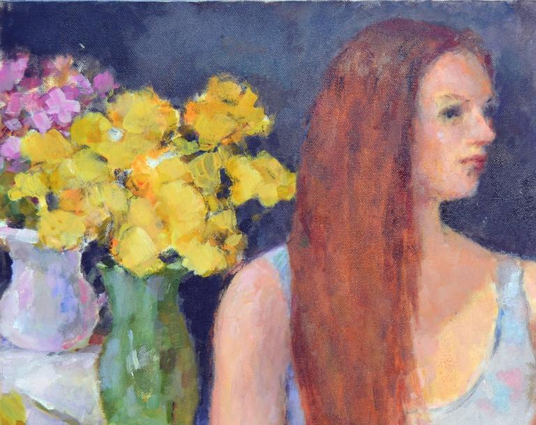 Yellow Roses, Portrait - American Impressionist Painting by Patricia Emrich Gillfillan