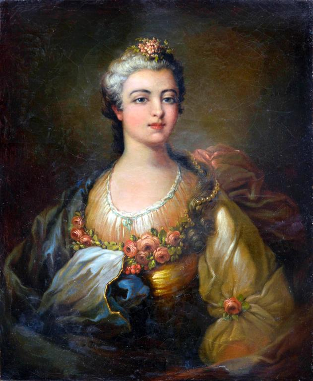 """Stunning French School portrait of unknown aristocratic woman in manner of Frederick Dubois, French: active c. 1780-1819), circa 1860. Signed lower right """"Dubois."""" Condition: Good; repairs made to lifted paint and has craquelure throughout."""