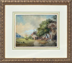 Late 19th Century Swiss Farm Scene Landscape