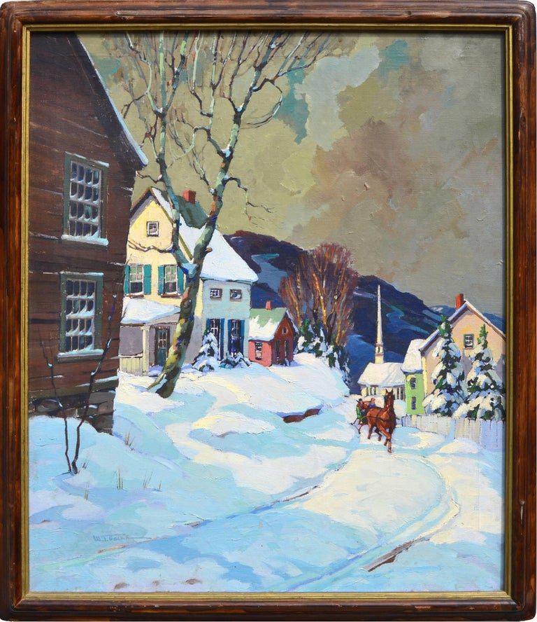 Walter Thomas Sacks Landscape Painting - Stowe Vermont Village Sleigh Ride Landscape