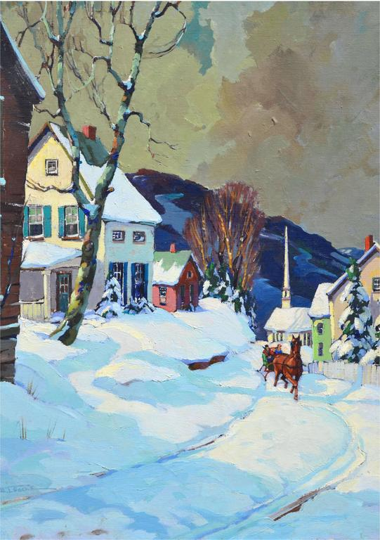 Stowe Vermont Village Sleigh Ride Landscape - Painting by Walter Thomas Sacks