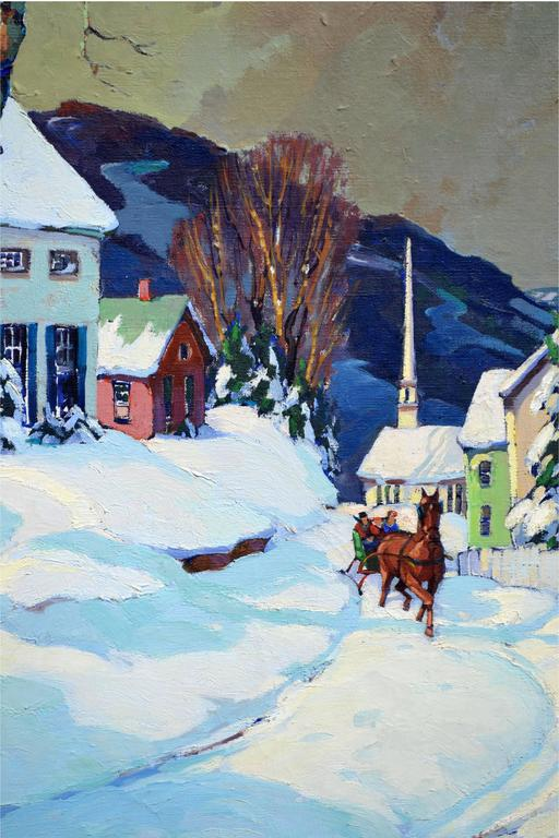 Stowe Vermont Village Sleigh Ride Landscape - American Impressionist Painting by Walter Thomas Sacks