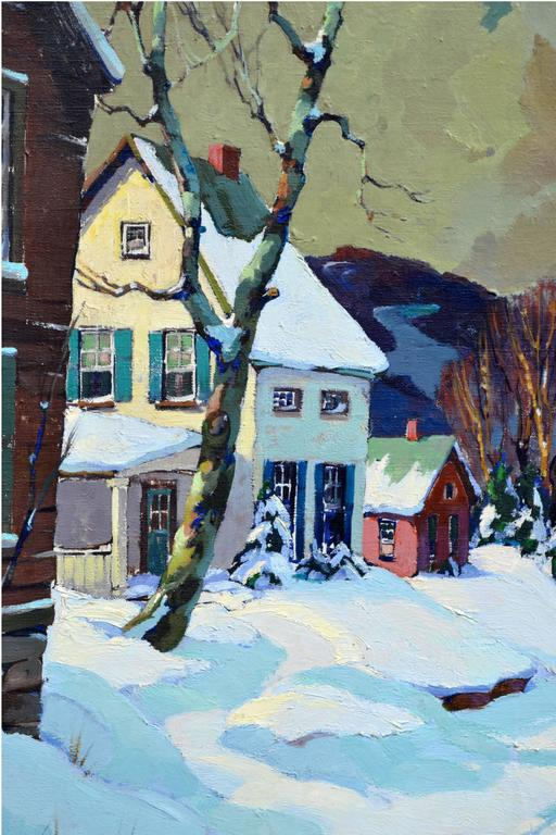 Stowe Vermont Village Sleigh Ride Landscape - Gray Landscape Painting by Walter Thomas Sacks