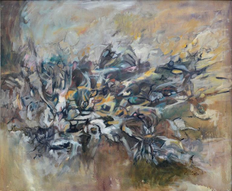 Emergence #3 Gotai Movement Kuniko Nakamura 1964 - Abstract Expressionist Painting by Kuniko Nakamura