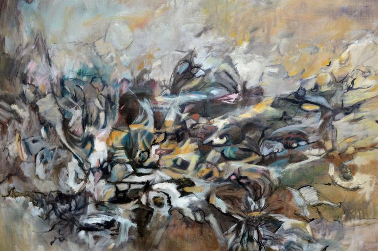 Emergence #3 Gotai Movement Kuniko Nakamura 1964 - Gray Landscape Painting by Kuniko Nakamura