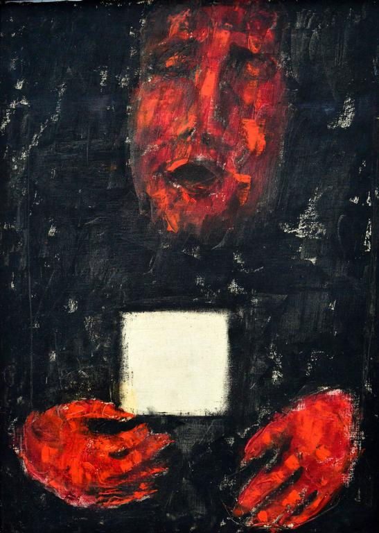 Red Hands White Card - Painting by Unknown