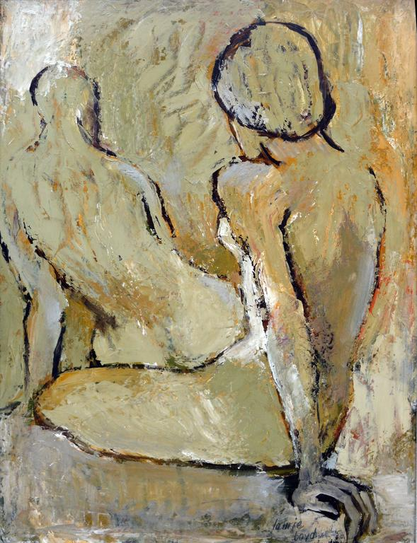 Two Figures - Brown Figurative Painting by Laurie Boyd