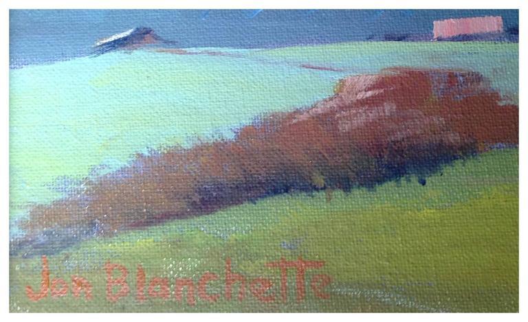 Mid Century California Landscape -- Mendocino Hills - Blue Landscape Painting by Jon Blanchette