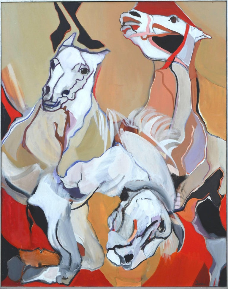 """Marie Sarni Animal Painting - """"Bridled Yet Unbridled"""" - Abstract Expressionist Horses"""