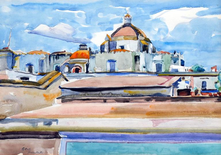 Mexico Cathedral by Eugenia Francis Baker McComas - Painting by Eugenia Frances Baker McComas