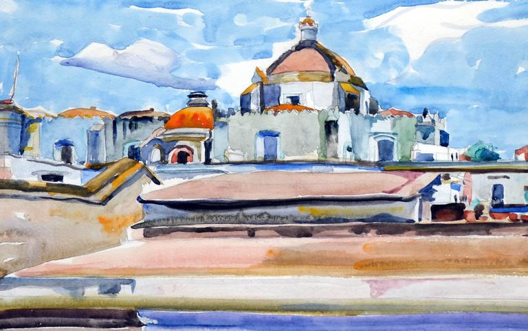 Mexico Cathedral by Eugenia Francis Baker McComas - American Impressionist Painting by Eugenia Frances Baker McComas
