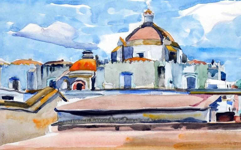 Mexico Cathedral by Eugenia Francis Baker McComas - Brown Landscape Painting by Eugenia Frances Baker McComas
