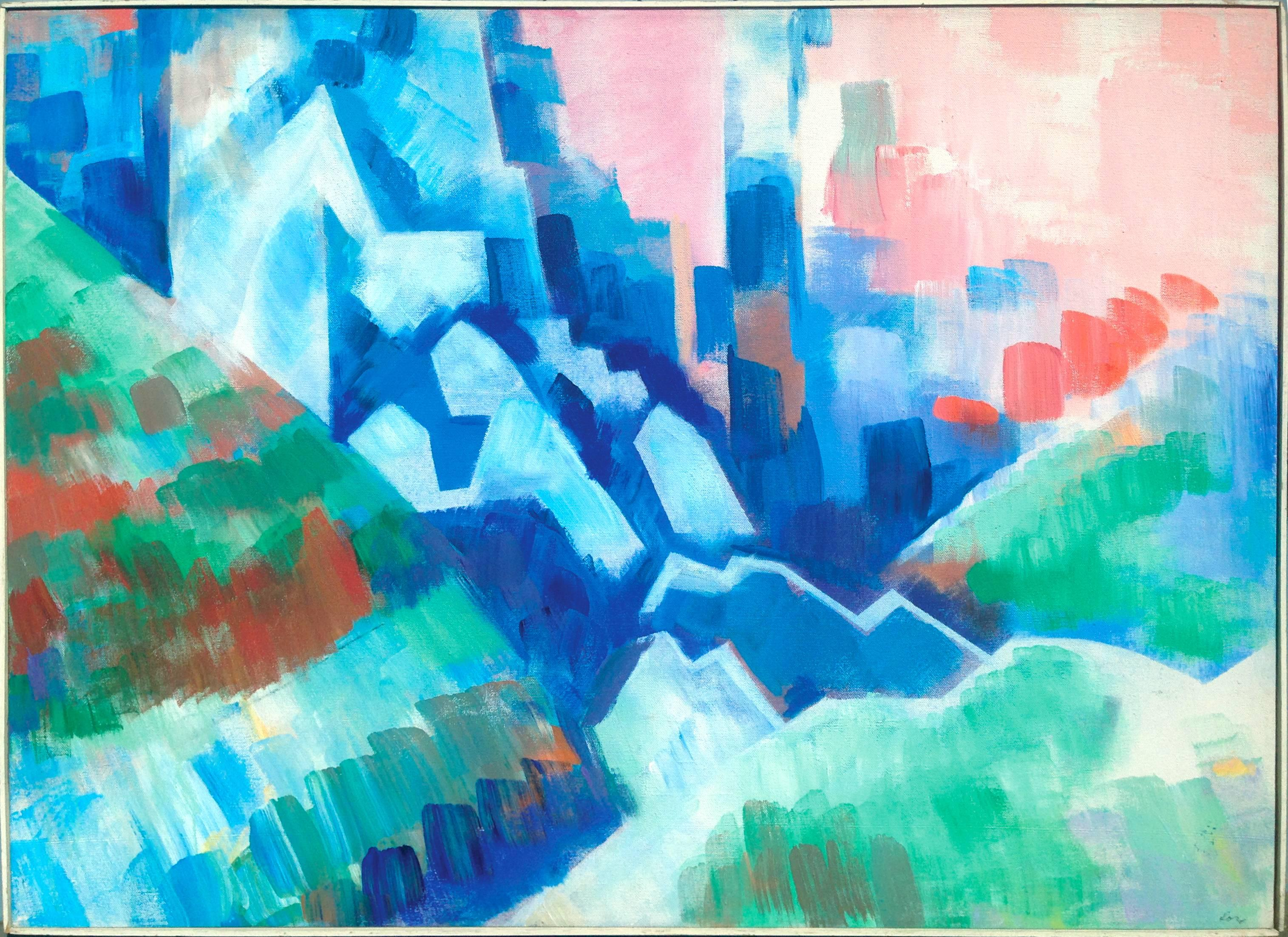 Mountains Overlooking the City Abstracted Cityscape