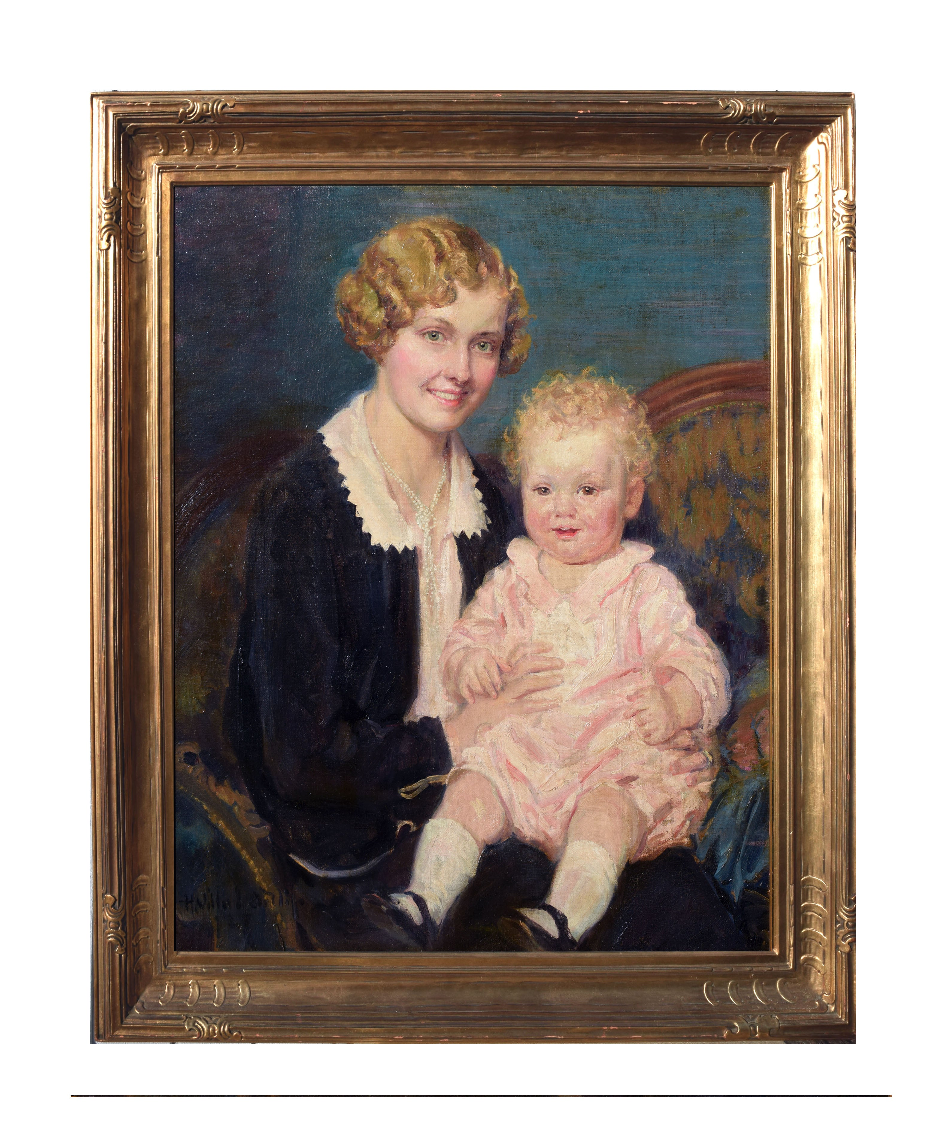 Mother and Child 1920s in a Newcomb Macklin Giltwood frame