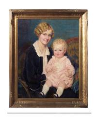 Mother and Baby and Rare Newcomb Macklin Giltwood frame