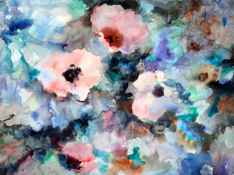 Florida Flowers Abstract - Painting by Mary Burke