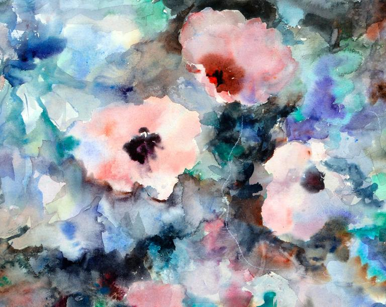 Florida Flowers Abstract - American Impressionist Painting by Mary Burke