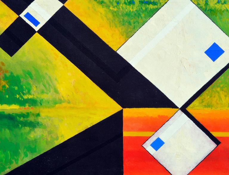 White Abstract Cubes -- San Francisco Abstract Expressionist School - Painting by James McCray