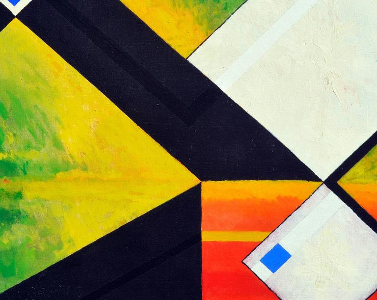 White Abstract Cubes -- San Francisco Abstract Expressionist School - Yellow Abstract Painting by James McCray